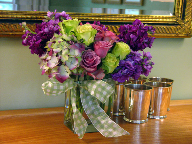 Gorgeous Arrangement Designed With Flowers of Lilac, Viburnum, Roses and stock
