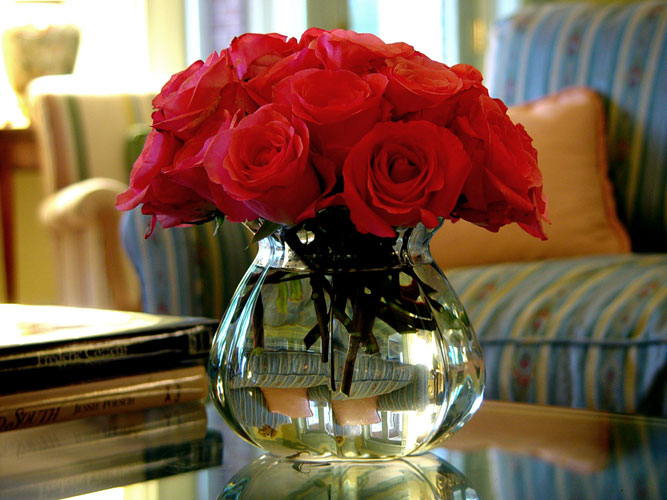 Roses in a gathering room Floral Design by Chambliss Design