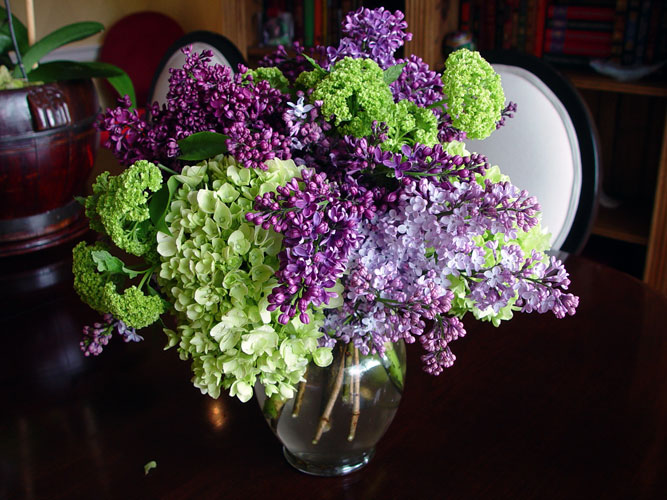 Personal Favorite, Lilac, Viburnum, and Mini Hydrangeas - Floral Design by Chambliss Design