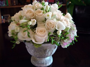 Wedding centerpiece of tuberoses roses stock and snowball