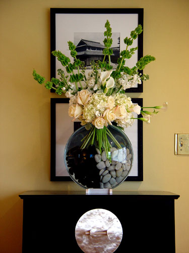 Yin and Yang modern design for Art event, filled with calla lilies belles of Ireland roses stock