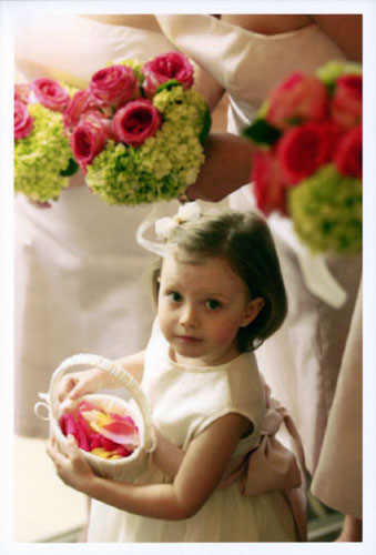 Flower girl with petals and Bridesmaids Bouquets with roses by Chambliss Design