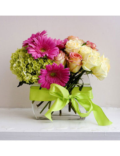 Gerberas, Roses and Hydrangeas