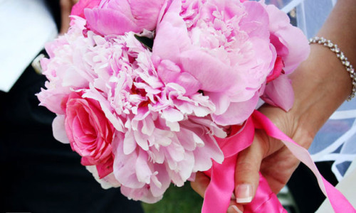 Bridal bouquet of pink peonies