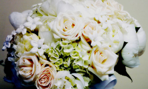 Bridal Bouquet of Gardenias Hydrangeas and Roses