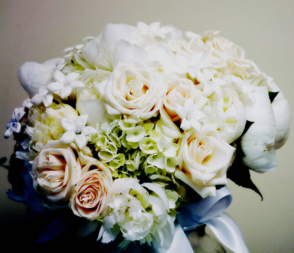 Bridal Bouquet of Gardenias Hydrangeas and Roses