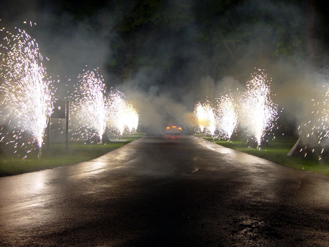 Fireworks at Keeneland for the Bride and groom leaving their Wedding reception.