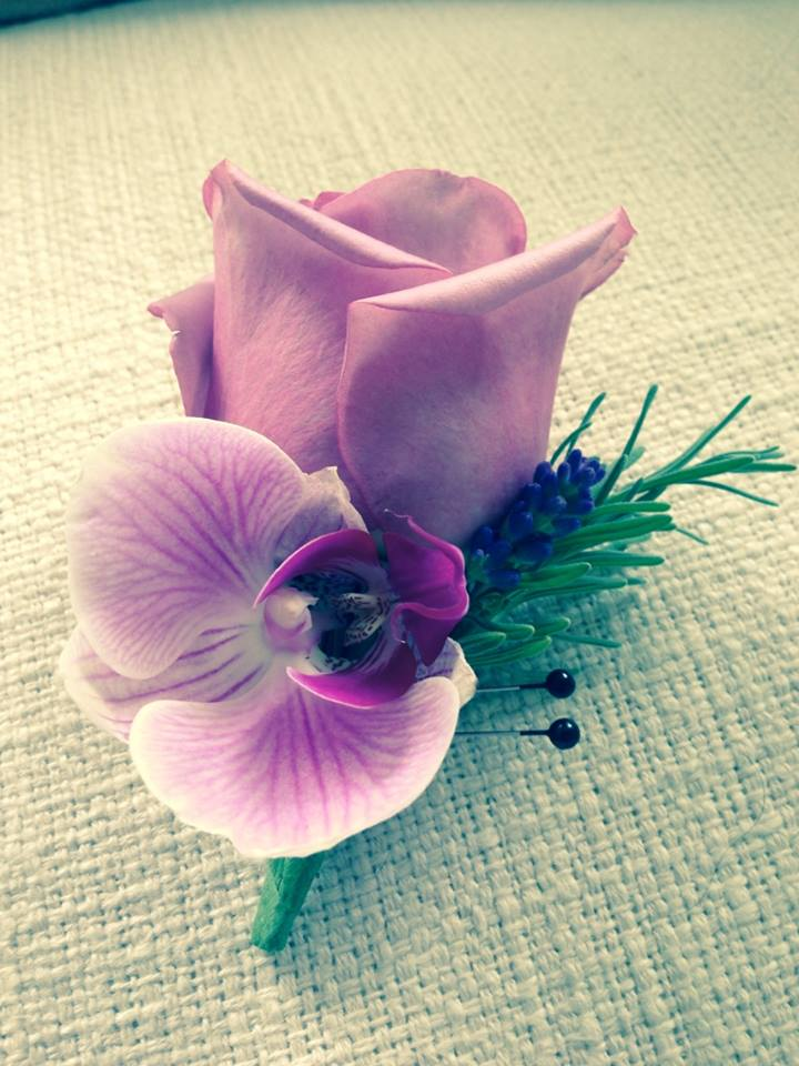 Lavender Rose Grooms Boutonniere - Lavender rose, orchid, lavender and rosemary.