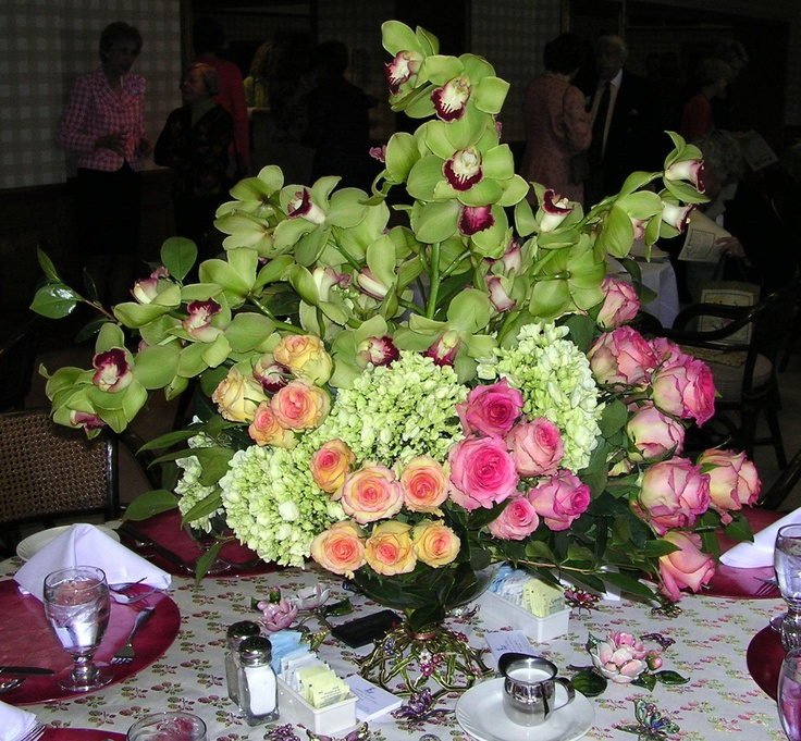 Centerpiece for Summer - Roses, Hydrangea and Cymbidium Orchids
