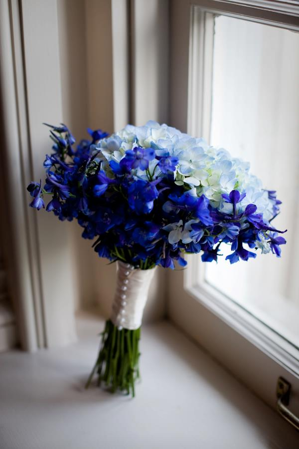 Bridal Bouquet - flowers of delphinium and hydrangeas