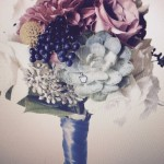 Bridal bouquet of succulents billy balls eucalyptus berries and dahlias with roses