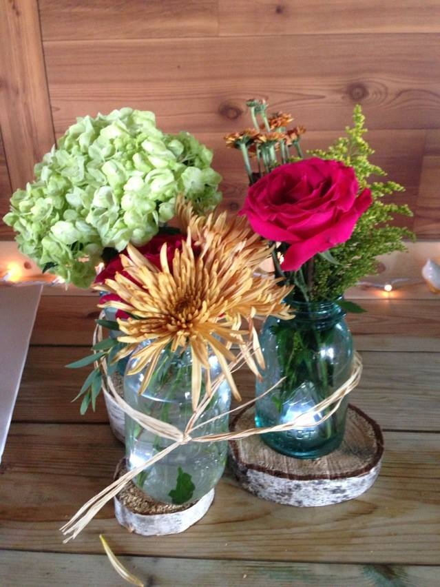 Country Barn wedding centerpieces