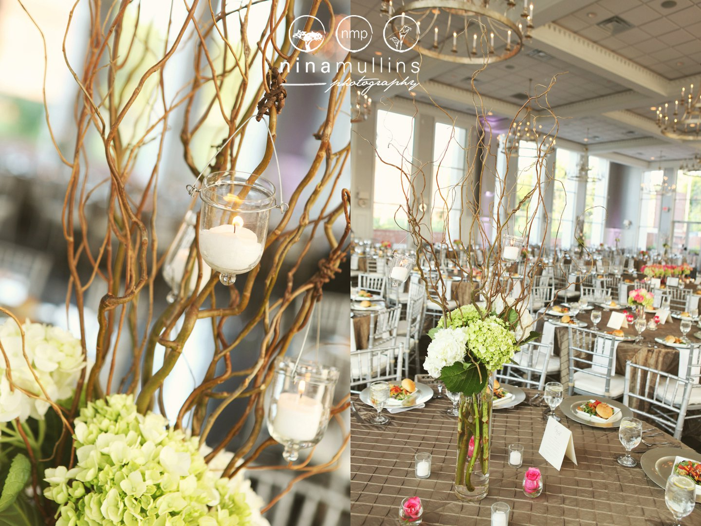 Curly Willow with hanging candle votives green and white hardrengeas