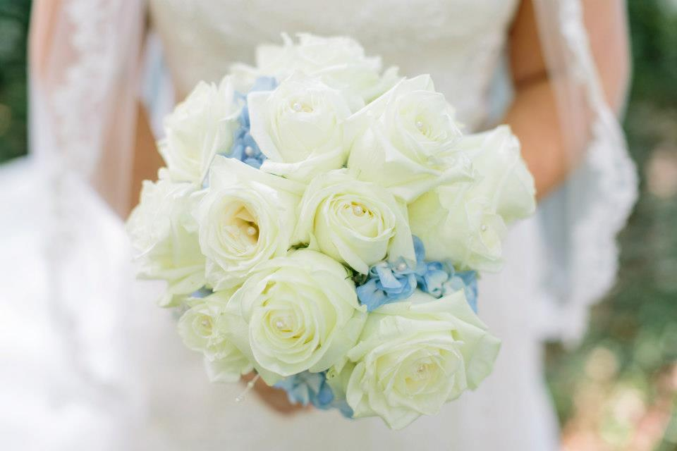 soft and lovely bridal bouquet designed with hydrangeas and garden roses - Garden Rose And Hydrangea Bouquet