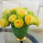 lovely yellow and green garden rose in porcelian gold leaf pot